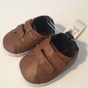 Brown Velcro Sneakers Crib Shoes 0-3 mos